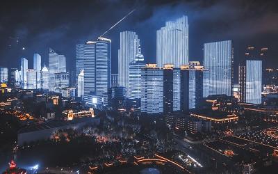 城市光彩灯光亮化工程搞活夜经济