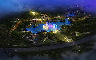 从唐山东湖森林公园看森林公园夜景规划